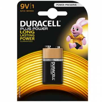 BATTERIE DURACELL PLUS POWER 9V 6LF22 / TRANSISTOR E-BLOCK / MN1604